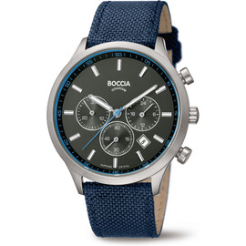 Boccia Titanium Chronograph Watch with Blue Textile Strap 3750-02
