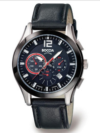 Boccia Titanium Chronograph Watch with Black and Red Dial 3771-01