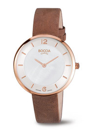 Boccia Polished Titanium Watch with a Brown Suede Leather Strap 3244-04