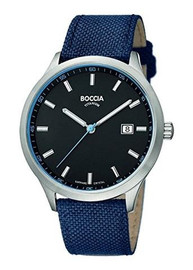 Boccia Titanium Black Dial Watch with Blue Textile Strap 3614-02