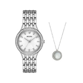 Bulova Swarovski Crystal Watch & Pendant Box Set 96X146