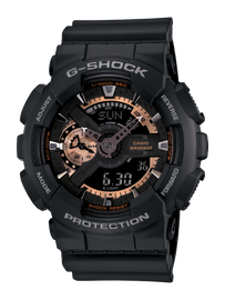 Casio G-Shock Black Watch with Rose-Gold Accents GA-110RG-1A