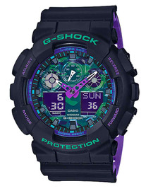 Casio G-Shock Retro Black & Purple Watch GA100BL-1A