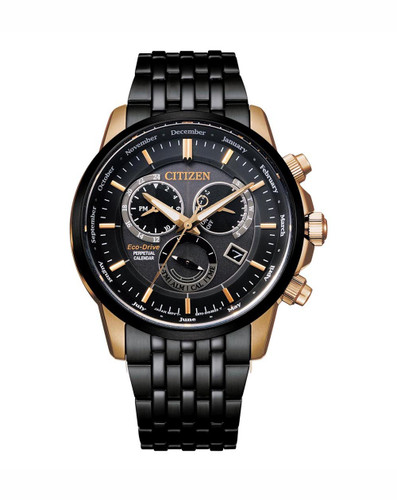 Gents Black Stainless Steel Citizen Eco-Drive Chrono BL8156-80E