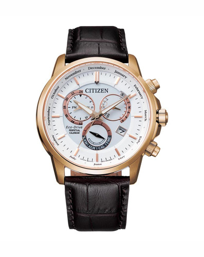 Gents Citizen Yellow Gold Eco-Drive Chronograph with Brown Leather Strap  BL8153-11A