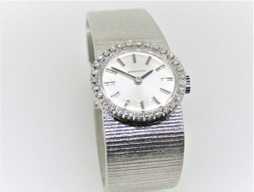 Zenith diamond set 18ct white gold watch