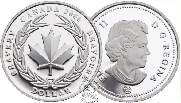 Canada: 2006 $1 Medal of Bravery Proof Silver Dollar coin