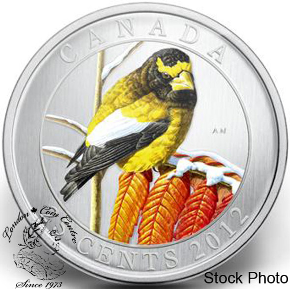 Canada: 2012 25 Cents Evening Grosbeak Coloured Coin