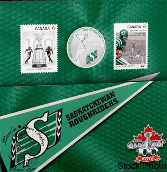 Canada: 2012 25 Cents The Saskatchewan Roughriders Coloured Coin & Stamp Set