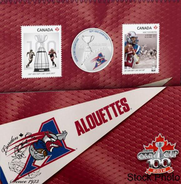 Canada: 2012 25 Cents The Montréal Alouettes Coloured Coin & Stamp Set
