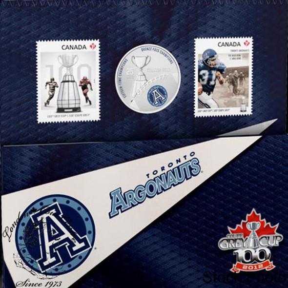 Canada: 2012 25 Cents The Toronto Argonauts Coloured Coin & Stamp Set