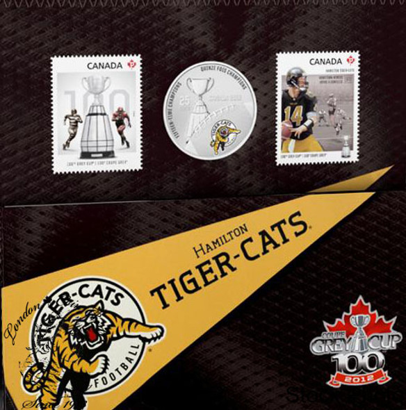 Canada: 2012 25 Cents Hamilton Tiger-Cats Coloured Coin & Stamp Set