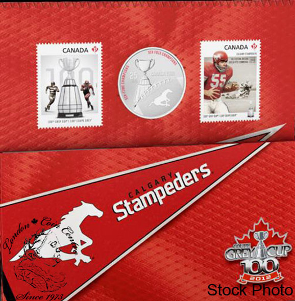 Canada: 2012 25 Cents Calgary Stampeders Coloured Coin & Stamp Set