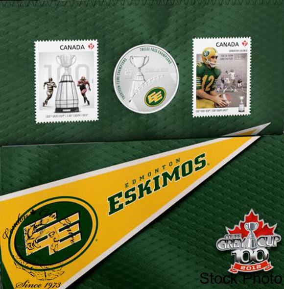 Canada: 2012 25 Cents Edmonton Eskimos Coloured Coin & Stamp Set