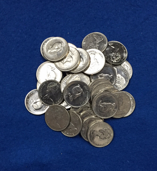Canada: 1967 Rabbit 5 Cent Nickels (40 pcs) Average Circulated Condition