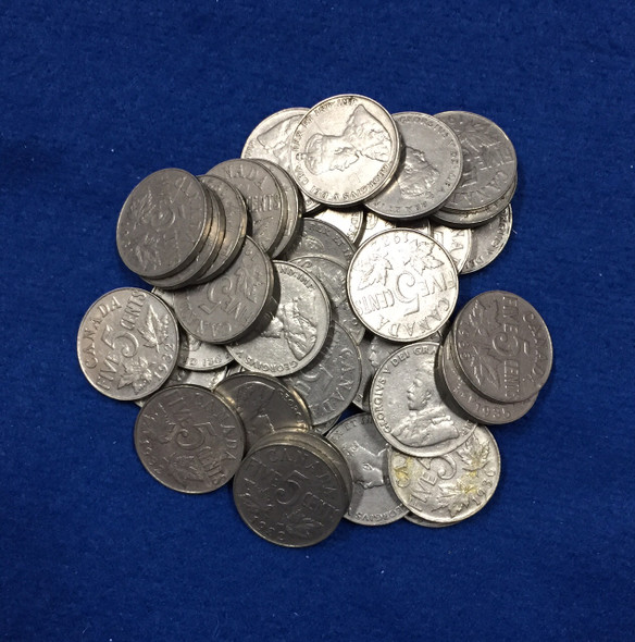 Canada: 1922-1936 George V 5 Cent Nickels (40 pcs) Average Circulated Condition