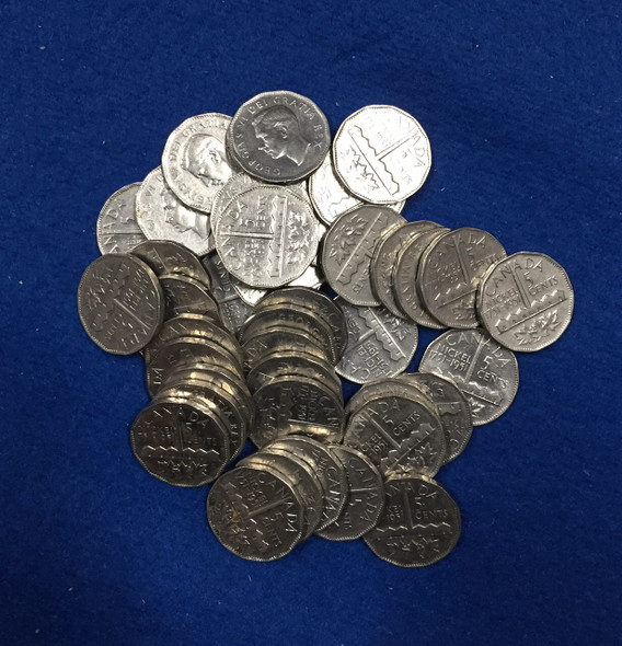 Canada: 1951 5 Cent Nickels Sudbury Commemorative (40 pcs) Average Circulated Condition