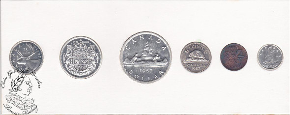 Canada: 1957 Proof Like / PL Coin Set in Original Cardboard