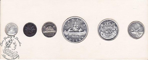 Canada: 1956 Proof Like / PL Coin Set in Orginal Cardboard