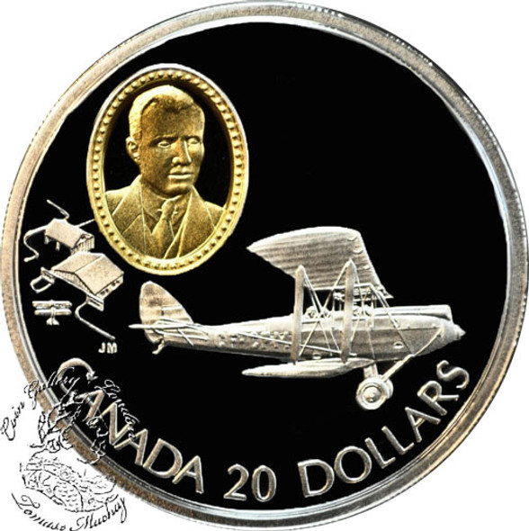 Canada: 1992 $20 de Havilland Gipsy Moth Aviation Coin 1-6