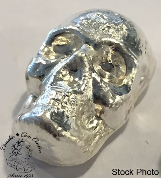 1 oz Pure Silver Skull by Beaver Bullion