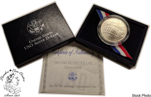 United States: 1991 $1 USO 50th Anniversary Uncirculated Dollar Coin