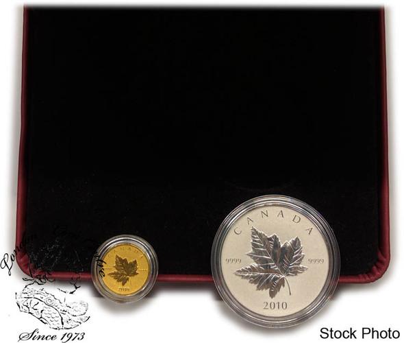 Canada: 2010 $10 $5 1/5 Oz. Gold and 1 Oz. Silver Piedfort Coin Set