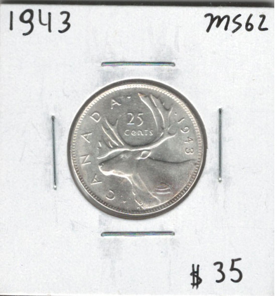 Canada: 1943 25 Cents MS62