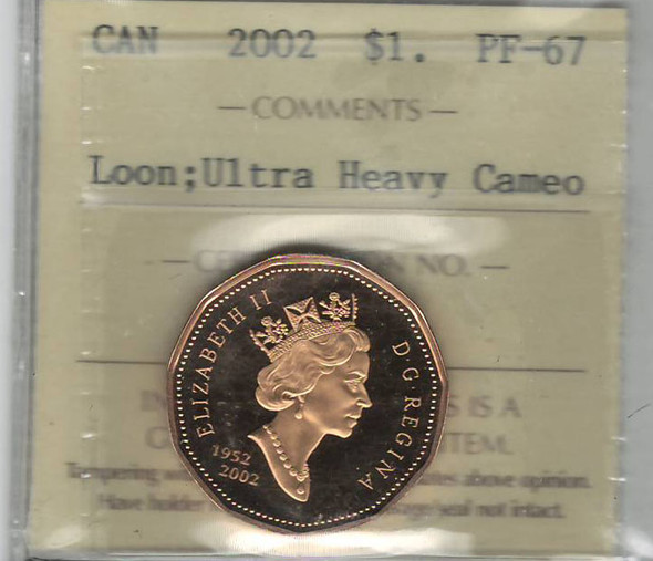 Canada: 2002 $1 Loonie Loon ICCS PF67