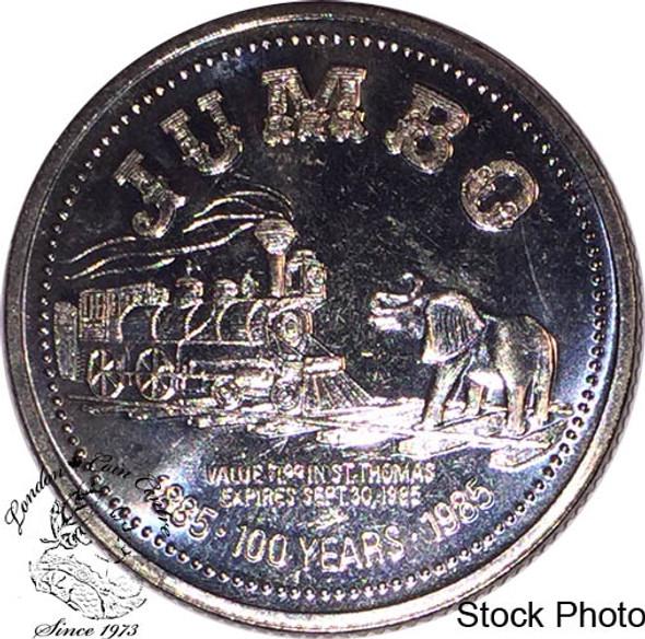 Canada: 1885-1985 Jumbo The Elephant City of St Thomas Trade Dollar