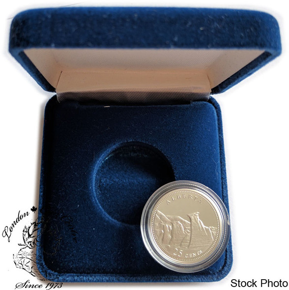 Canada: 1992 25 Cent Alberta Proof Sterling Silver Coin in Clamshell