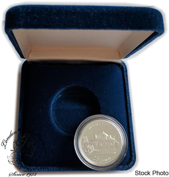 Canada: 1992 25 Cent Manitoba Proof Sterling Silver Coin in Clamshell