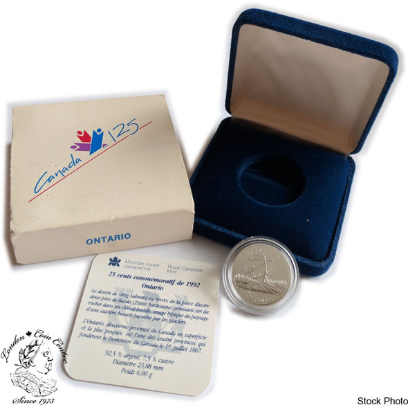 Canada: 1992 25 Cent Ontario Proof Sterling Silver Coin in Clamshell