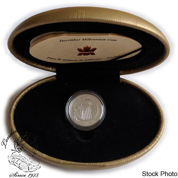 Canada: 1999 25 Cent December Millennium Silver Coin in Clamshell