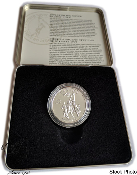 Canada: 1999 50 Cent Basketball James Naismith Sterling Silver Coin