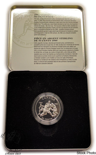 Canada: 1999 50 Cent First Grey Cup Sterling Silver Coin
