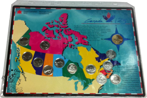 Canada: 1992 125th Anniversary Coin Set Includes 12 Provincial Quarters, and  Parliament Loonie