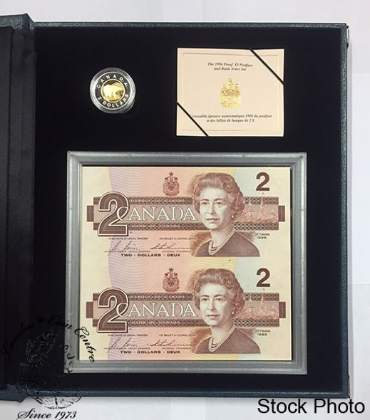 Canada: 1996 Piedfort $2 Toonie & Banknote Set