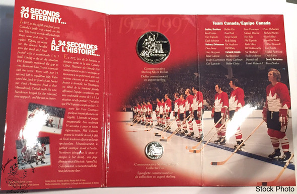 Canada: 1997 $1 25th Anniv. 1972 Canada/Russia Hockey BU Silver Dollar Coin and Sterling Silver Pin Set