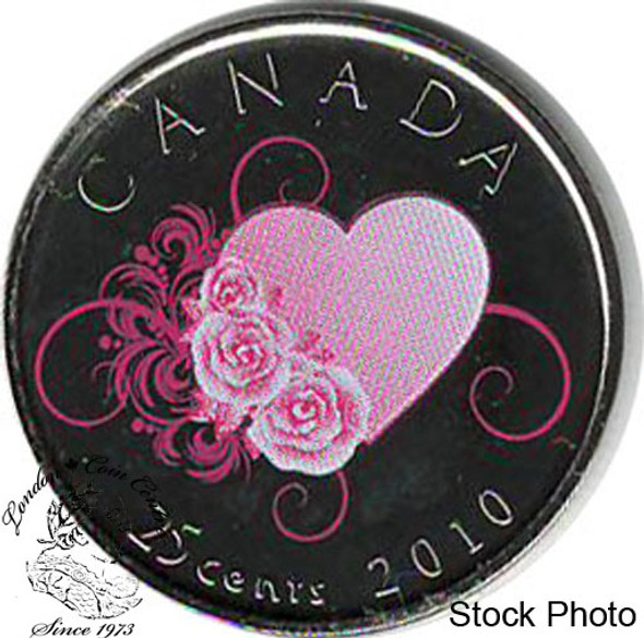 Canada: 2010 25 Cent Heart & Roses Proof Like