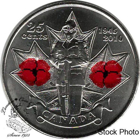 Canada: 2010 25 Cent Poppy Coloured BU