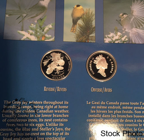 Canada: 1995 50 Cents Birds of Canada Gray Jay/White Tailed Ptarmigan 2 Coin Set