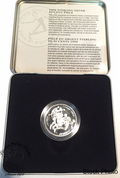 Canada: 1998 50 Cent First Overseas Canadian Soccer Tour Sterling Silver Coin