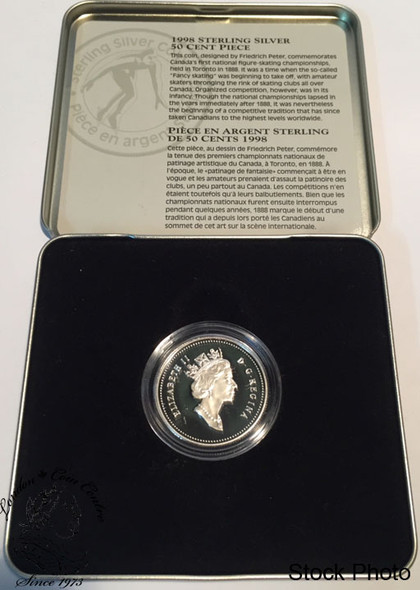 Canada: 1998 50 Cent First Official Amateur Figure Skating Championship Sterling Silver Coin