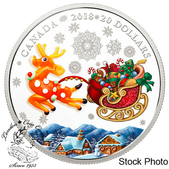 Canada: 2018 $20 1 oz. Murano Holiday Reindeer Pure Silver Coloured Coin