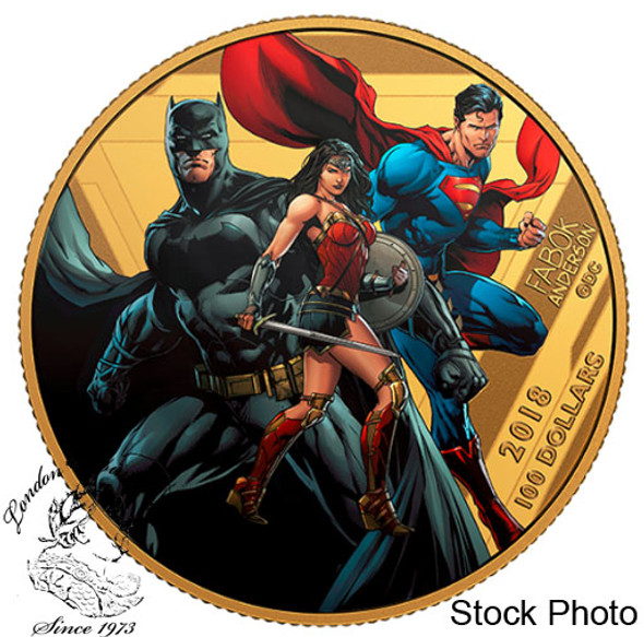 Canada: 2018 $100 The Justice League: United We Stand 14-Karat Gold Coin
