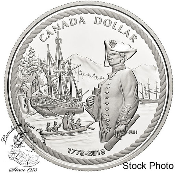 Canada: 2018 $1 240th Anniversary of Captain Cook at Nootka Sound Proof Silver Coin