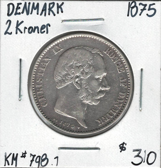 Denmark: 1875 Silver 2 Kroner