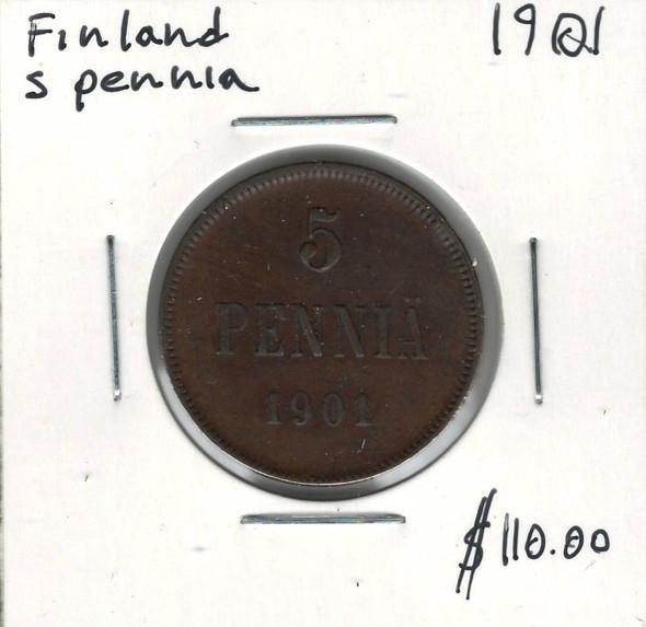Finland: 1901 5 Pennia