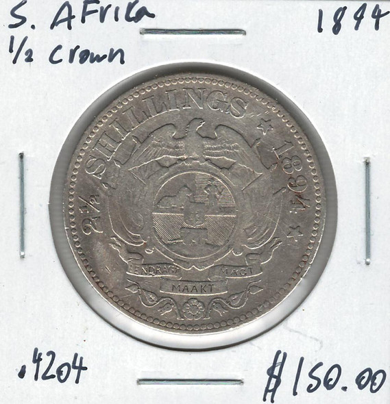 South Africa: 1894 1/2 Crown